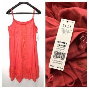 Elle XL Cayenne Coral Spaghetti Strap Dress NWT
